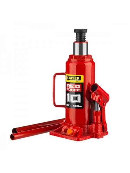 Гидравлический бутылочный домкрат STAYER RED FORCE 10т 43160-10
