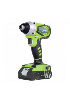Аккумуляторный ударный шуруповерт Greenworks G24ID