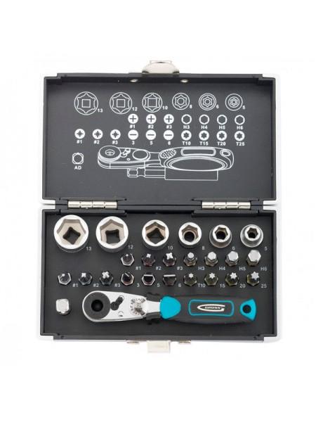 """Набор бит и торцевых головок 1/4"""", магнитный адаптер GROSS 11361"""