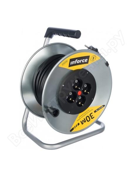 Силовой удлинитель на металлической катушке Inforce К4-Е-30 30 м 4 розетки с з/к 45130