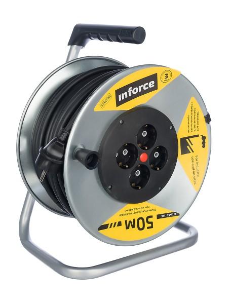 Силовой удлинитель на металлической катушке Inforce К4-Е-50 50 м 4 розетки с з/к 44150