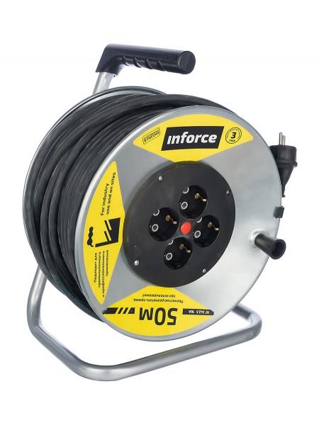 Силовой удлинитель на металлической катушке Inforce К4-Е-50 50 м 4 розетки с з/к 45150