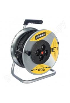 Силовой удлинитель на металлической катушке Inforce К4-Е-30 30 м 4 розетки с з/к 40130