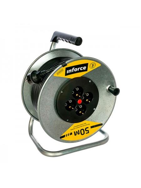 Силовой удлинитель Inforce К4-Е-50 на металлической катушке ПВС 3x1.5 50м 16А, 4 розетки с з/к 40150