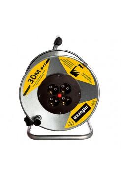 Силовой удлинитель Inforce К4-Е-30 на металлической катушке КГ 3x1.5 30м 16А, 4 розетки с з/к 44130
