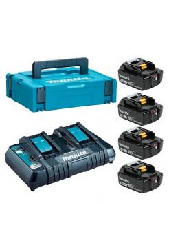 Набор аккумуляторов BL1850B 18В, 5.0 Ач + зарядное устройство DC18RD + кейс MakPac Makita 198312-4