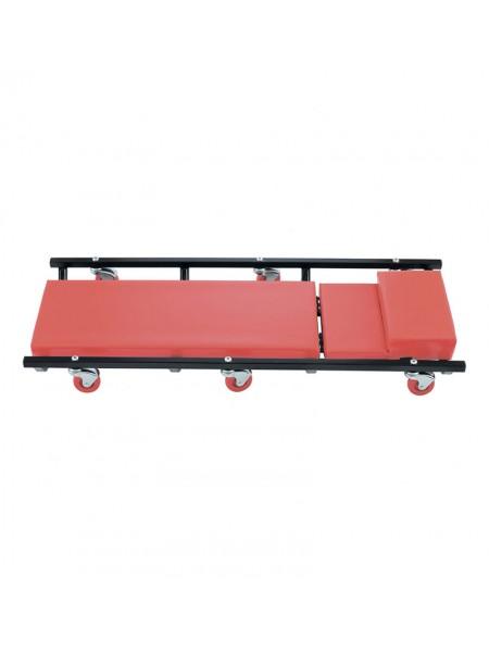 Лежак ремонтный на 6-ти колесах, поднимающийся подголовник MATRIX 567455